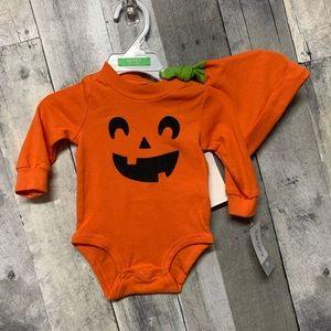 Carter's Pumpkin Bodysuit and Hat 3m NWT